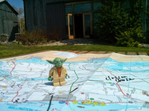 Yoda has a zen moment at Closson Chase Vineryards